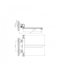 Agger Slim A2221100 - смеситель для ванны с длинным поворотным изливом, хром