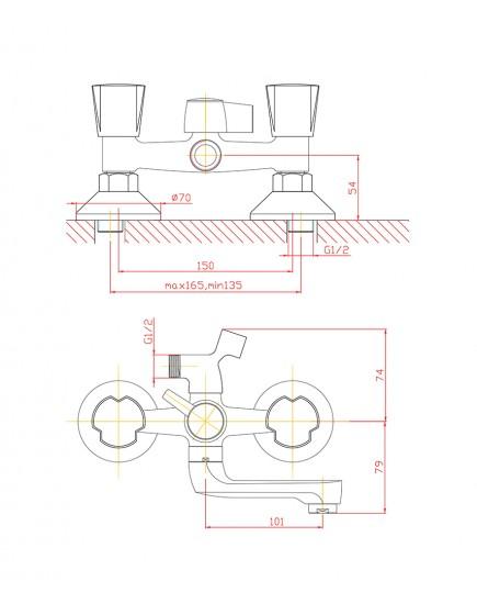 Agger Retro-R A2021200 - Двухзахватный смеситель для ванной с коротким поворотным изливом и душевым набором, хром