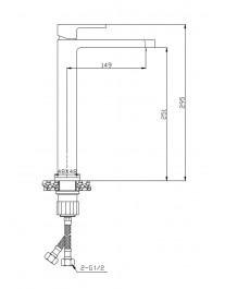 Agger Great A2812111 - Однозахватный смеситель высокий для накладной раковины, хром