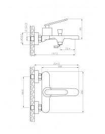 Agger Beauty A2610000 - Однозахватный смеситель для ванной с коротким изливом, хром