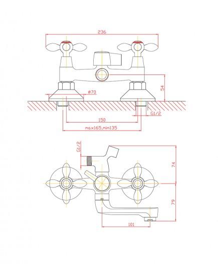 Agger Retro A1921288 - смеситель для ванной с коротким поворотным изливом и душевым набором, бронза