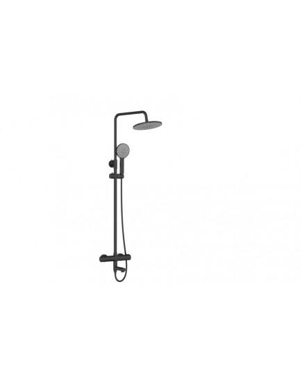 Agger Thermo A2461144 - термостатическая душевая стойка со смесителем и тропическим душем, черный цвет