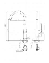 Agger Beauty A2600100 - Однозахватный смеситель для кухни с поворотным изливом, хром