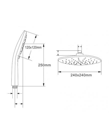 Agger A2595200 - душевая система со смесителем без излива и тропическим душем, хром