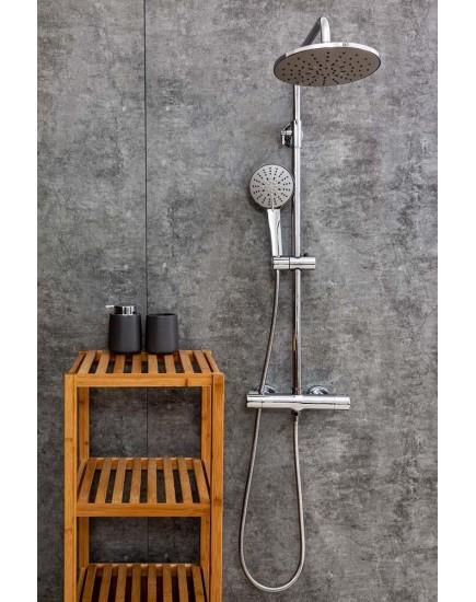 Agger Thermo A2451200 - термостатическая душевая система со смесителем без излива и тропическим душем, хром