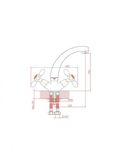Agger Retro A1901100 - смеситель для кухни с поворотным изливом, хром
