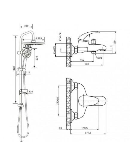 Agger Breeze One A0893500 - Душевая система со смесителем