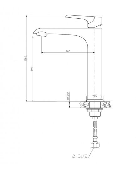 Agger Glorious A1212100 - Однозахватный смеситель для раковины, хром