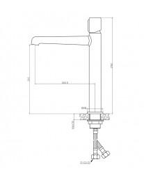 Agger Slim A2212100 - Однозахватный смеситель высокий для накладной раковины, хром