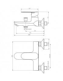 Agger Splendid A0910000 - Однозахватный смеситель для ванной с коротким изливом, хром
