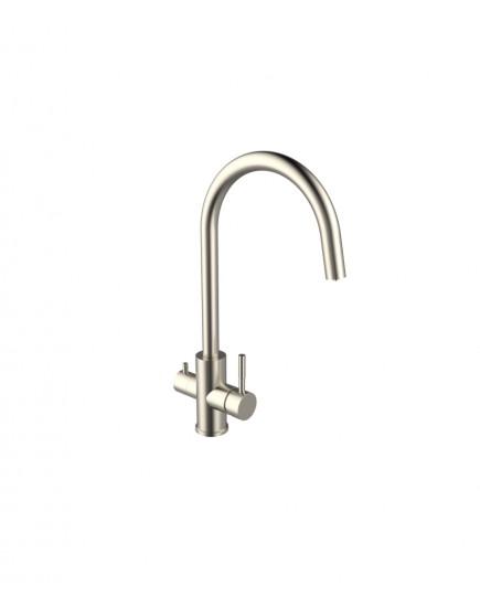 Agger Zest A0700733 - смеситель для кухни с возможностью подачи фильтрованной воды, никель