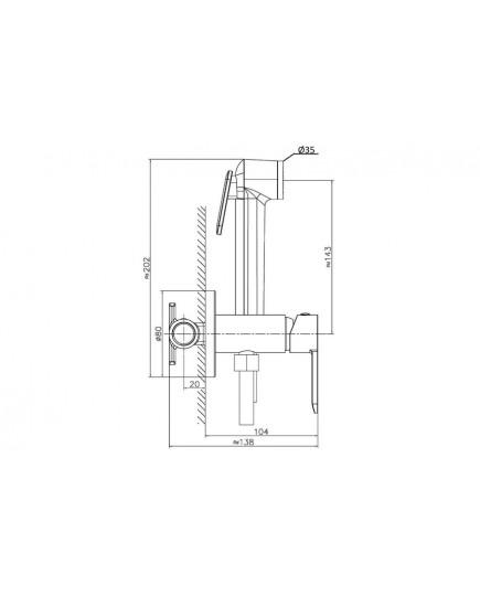 Agger Gorgeous A0270044 - гигиенический душ со смесителем и внутренней частью. Цвет чёрный.
