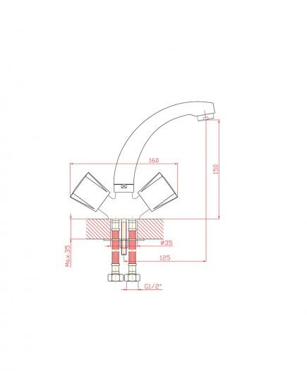 Agger Retro-R A2001100 - смеситель для раковины с поворотным изливом, хром