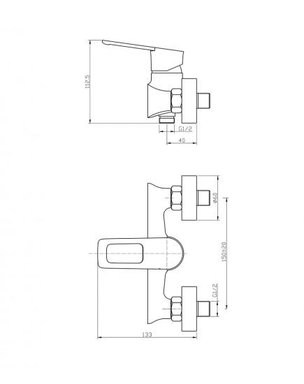 Agger Brave A2320000 - Однозахватный смеситель для ванны без излива, хром
