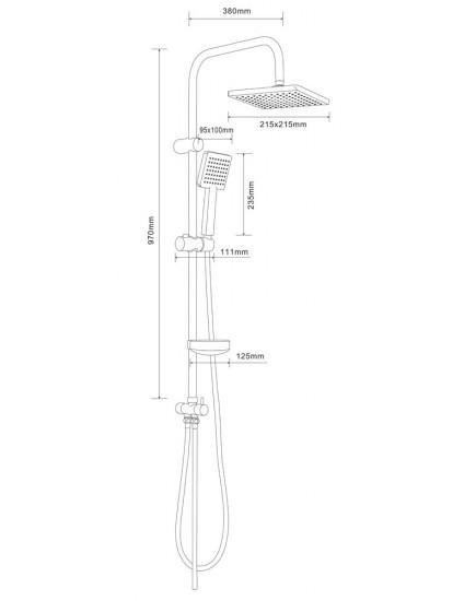 Agger A2994000 - термостатическая душевая система со смесителем и тропическим душем, хром