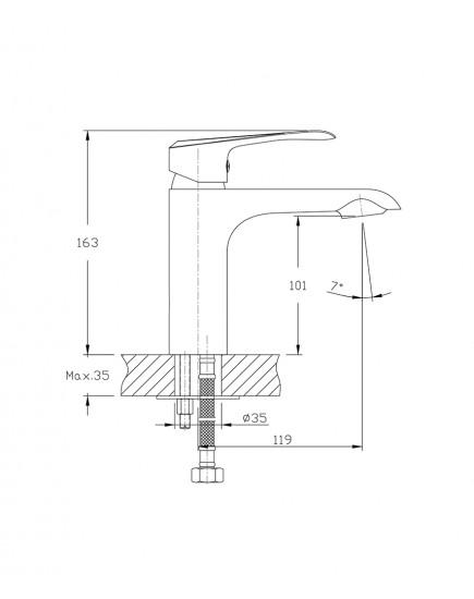Agger Glorious A1202100 - Однозахватный смеситель для раковины, хром