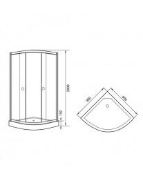 Agger A01-090TCR - душевой уголок с прозрачным стеклом и поддоном 90х90х200