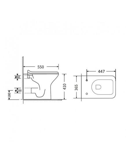 Agger AT02200 - Унитаз напольный пристенный безободковый