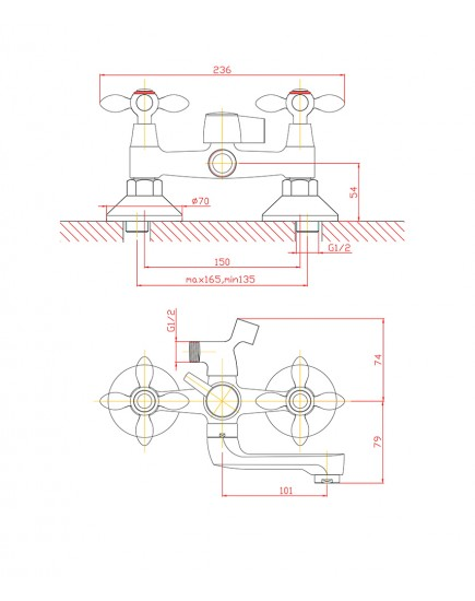 Agger Retro A1921200 - Двухзахватный смеситель для ванной с коротким поворотным изливом и душевым набором, хром