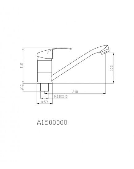Agger Glad A1500000 - смеситель для кухни с длинным поворотным изливом, хром