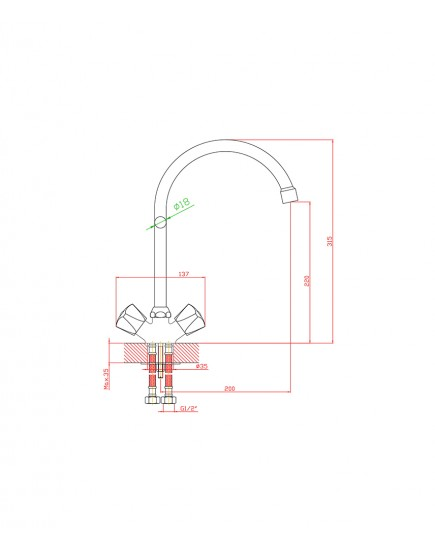 Agger Retro-S A1800000 - Двухзахватный смеситель для кухни с поворотным изливом, хром