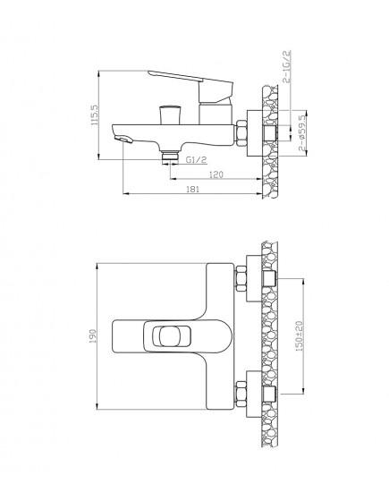 Agger Brave A2310000 - смеситель для ванной с коротким изливом, хром