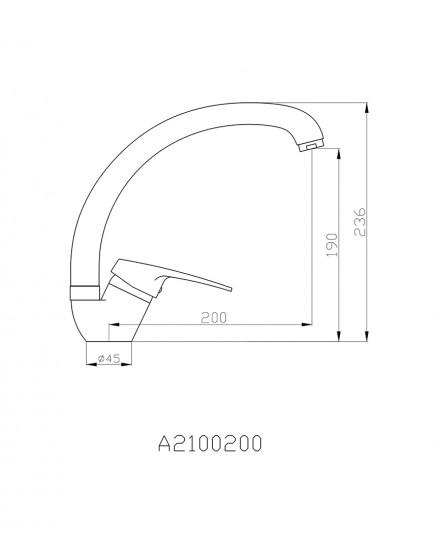 Agger Exact A2100200 - Однозахватный смеситель для кухни с поворотным изливом, хром