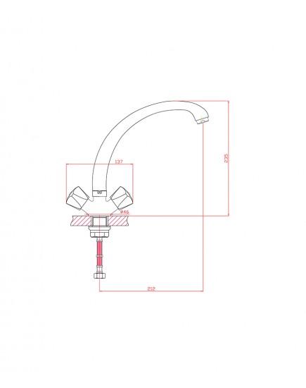 Agger Retro-S A1800200 - Двухзахватный смеситель для кухни с поворотным изливом, хром