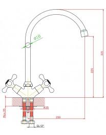 Agger Retro A1900000 - Двухзахватный смеситель для кухни с поворотным изливом, хром