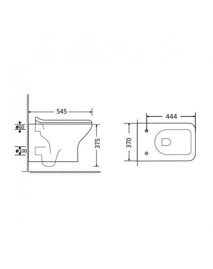 Agger AT02100 - Унитаз подвесной безободковый