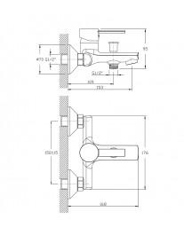 Agger Punctual A1610000 - Однозахватный смеситель для ванной с коротким изливом, хром