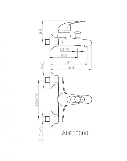 Agger Move A0610000 - Однозахватный смеситель для ванной с коротким изливом, хром
