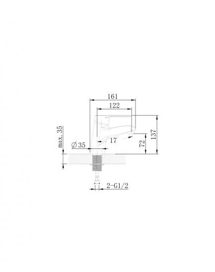 Agger Right A2902100 - однозахватный смеситель для раковины, хром
