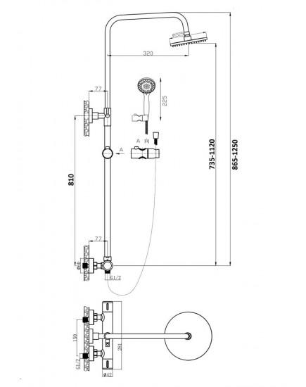 Agger Thermo A2451244 -Душевая система, черный цвет