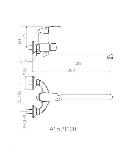 Agger Glad A1521100 - Однозахватный смеситель для ванны с длинным поворотным изливом, хром