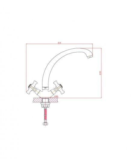 Agger Retro-X A1700200 - Двухзахватный смеситель для кухни с поворотным изливом, хром