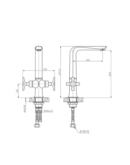 Agger Love A1000000 - Двухзахватный смеситель для кухни с поворотным изливом, хром