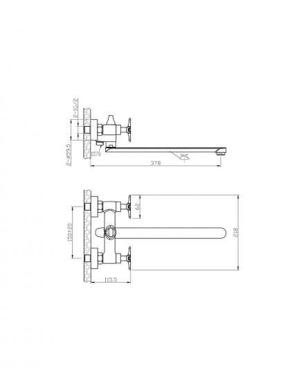 Agger Love A1021100 - Двухзахватный смеситель для ванны с длинным поворотным изливом, хром