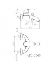 Agger Glad A1510000 - Однозахватный смеситель для ванной с коротким изливом, хром