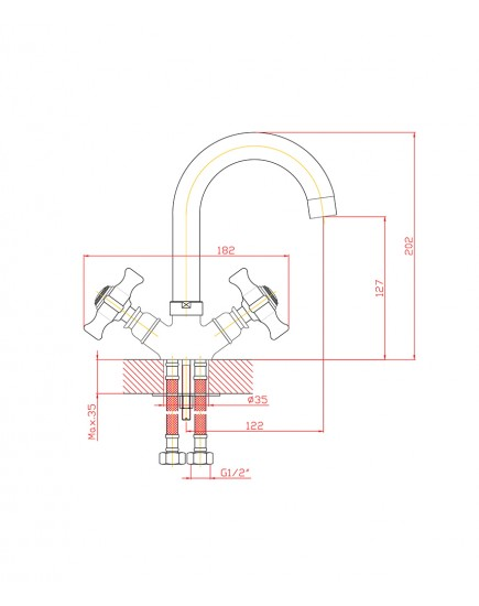 Agger Retro-X A1701100 - Двухзахватный смеситель для раковины с поворотным изливом, хром