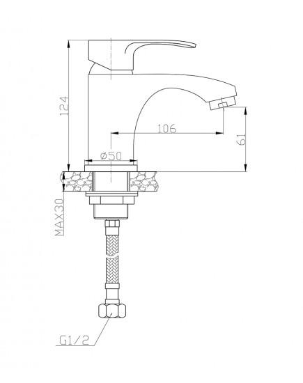 Agger Fine A1102100 Однозахватный смеситель для раковины, хром