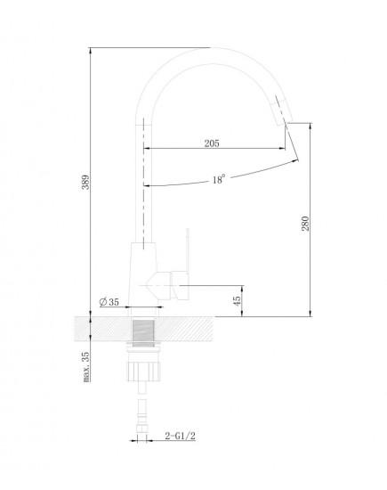 Agger Splendid A0900144 - смеситель для кухни с поворотным изливом, черный