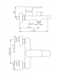 Agger Gorgeous A0210044 - однозахватный ванно/душевой смеситель с коротким изливом, хром