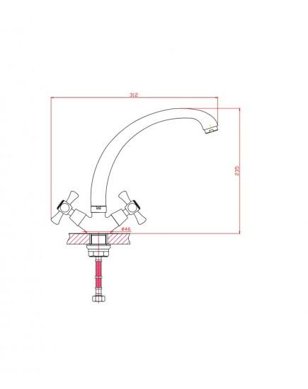 Agger Retro A1900200 - Двухзахватный смеситель для кухни с поворотным изливом, хром