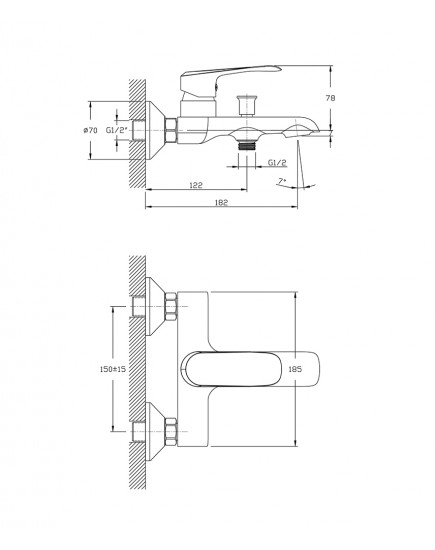Agger Glorious A1210000 - Однозахватный смеситель для ванной с коротким изливом, хром