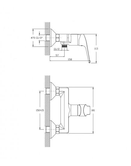 Agger Merry A1320000 - Однозахватный смеситель для ванны без излива, хром