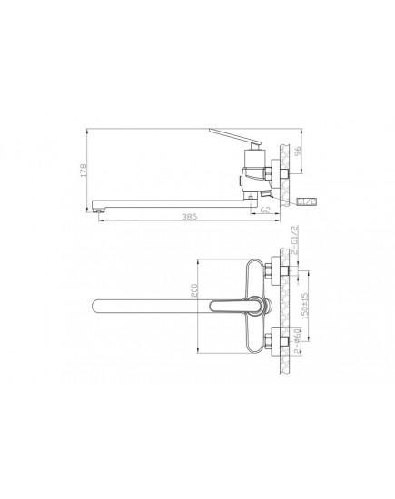 Agger Beauty A2621100 - Однозахватный смеситель для ванны с длинным поворотным изливом, хром