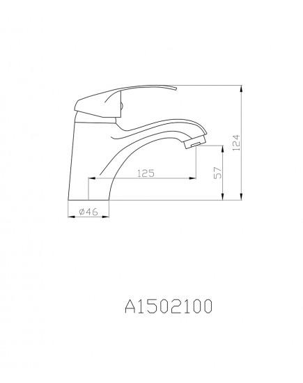 Agger Glad A1502100 - Однозахватный смеситель для раковины, хром