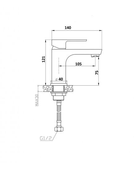 Agger Brilliant A0302100 - Однозахватный смеситель для раковины, хром