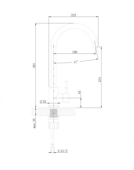 Agger Zest A0701100 - смеситель для кухни с поворотным изливом, хром